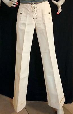 Vtg 70 Levis for Gals Natural Juniors Sz ? Lace Up Cuffed Bell Bottom Jeans NWOT