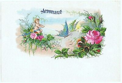 Cigar Box Label Vintage C1890S Original Heppenheimer Maurer Fantasy Butterfly
