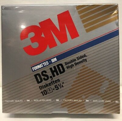 """3M Floppy Diskettes 5-1/4"""" IBM Disks New Factory Sealed 10 Pack Double Density"""