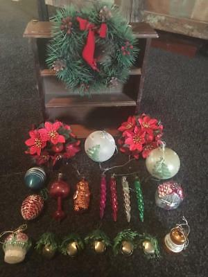 Vintage  Christmas Tree Ornaments ( 21) /  Old Mercury Glass Collectables