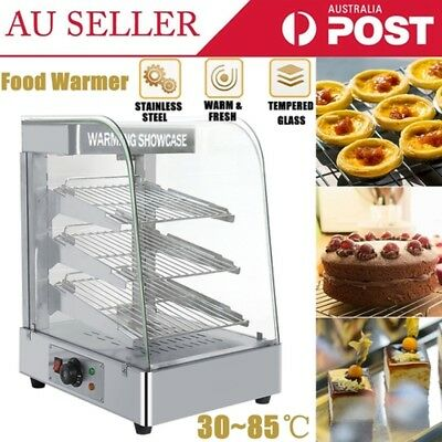 3Layer Pie Warmer Hot Food Snack Glass Display Showcase Stainless Steel Interior