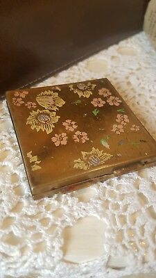 Vintage Floral Make-up Powder Compact Bronze Gold Retro