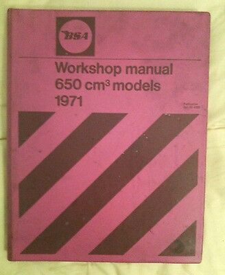 BSA A65 650cc 1971 manuale d'officina ORIGINALE ORIGINAL WORKSHOP MANUAL