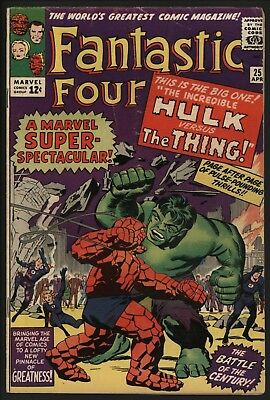 FANTASTIC FOUR #25 1st HULK/THING FIGHT NICE GLOSSY CENTS GOOD PAGE QUALITY