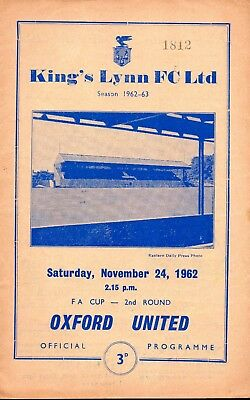 King's Lynn 1962 v Oxford United (first season in league) FA Cup 2nd round