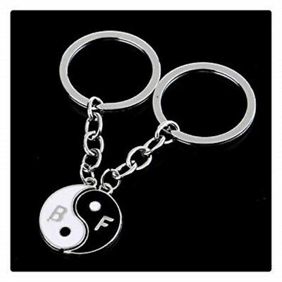 Best Friends Ying Yang Double Keyring Metal Silver Jewellery New