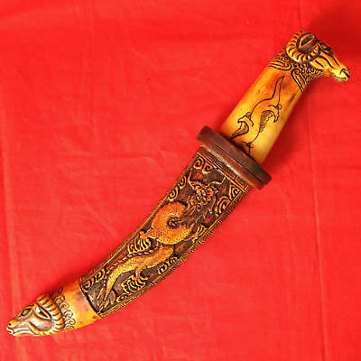 Collectible Old Handwork Tibet B0ne Carved Sheep Head Sword Dragon Decor knife
