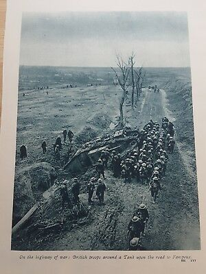 WWI ANTIQUE PRINT British troops around a male tank on the road to Fanipoux