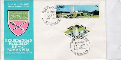 Malaysia 81-82 FDC 1971 COMMONWEALTH PARLAMENT POLITIK BRIEF COVER