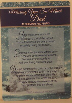 Memorial Grave Card Missing you so much Dad at Christmas  15cm x 10.5cm