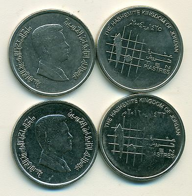 2 DIFFERENT 10 PIASTRE COINS from JORDAN - 2004 & 2012 (2 TYPES)