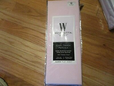 Wamsutta Cool Touch Percale Pink Queen Flat Sheet 350 Ct 100 Egyptian Cotton