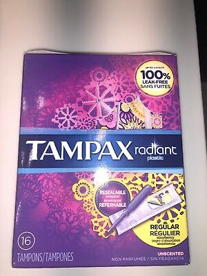 Tampax Radiant Regular Plastic Tampons, Unscented, 16 Count, Packaging May..