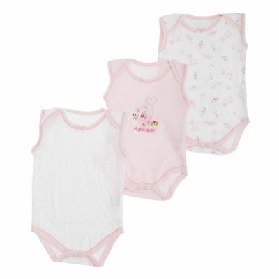 Baby Girls Bear Pattern Sleeveless Bodysuits (Pack Of 3) (BABY529)