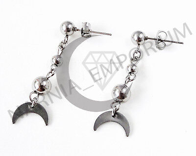 Crescent Moon Earrings Pastel Goth Nu Wicca Handmade Stainless Steel