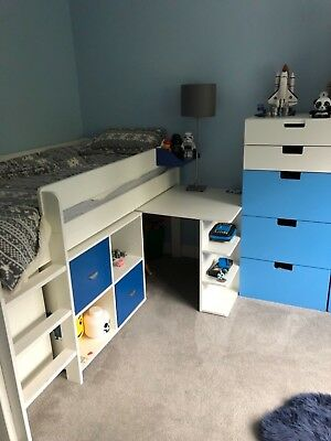new concept 93ec8 fc0fe JOHN LEWIS STOMPA mid sleeper bed with desk and drawers & Ikea storage  wardrobes