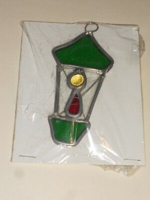 Green & Red Stained Glass 4 1/2 Inch Lantern Ornament/Sun Catcher NICE
