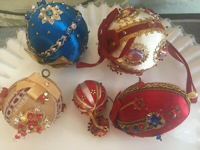 Vintage Sequin Beaded Satin Ornaments 60s 70s CHRISTMAS Holiday LOT 1