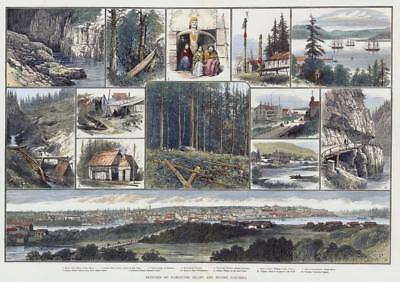 1882 LARGE Antique Print - CANADA Views VANCOUVER ISLAND BRITISH COLUMBIA (HC19)