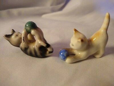Vintage Porcelain Miniature CATS Ball KITTENS Figurines Set Playing, GERMANY