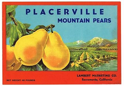 PEAR CRATE LABEL SCARCE VINTAGE MOUNTAIN GEMS LAKE COUNTY SACRAMENTO C1950