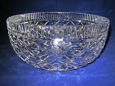 """WATERFORD CRYSTAL Serving Bowl 8"""" Salad Diamond Cut GOTHIC MARK ~ EXCELLENT"""