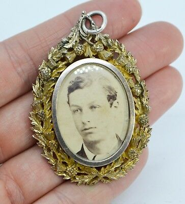 1884 HUGE Victorian Sterling Silver Gilt THISTLE EDGE Locket Pendant - London