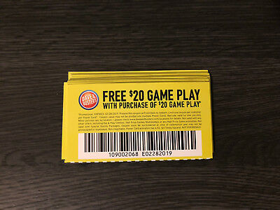 25 Dave And Busters $20 gameplay with identical purchase powercard exp 2/28/2019