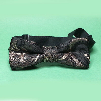 Men Bow Tie Black Gold Paisley Brocade Fabric Ready TO Wear Adjustable Clip On