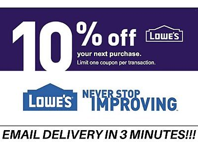 Three 3x Lowes 10% OFF3Coupons-InStore and Online-Lowe's-Fastest Delivery____