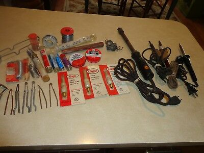 Vintage Soldering Lot Electric Irons Soldering Tips, Wire Solder Weld-All &Other