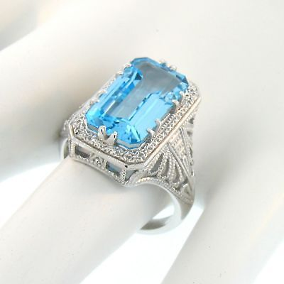10K White Gold Genuine Swiss Blue Topaz Antique Design Ring Size 8,         #A52