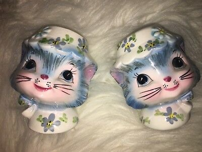 Vintage Lefton MISS PRISS Kitty Cat SALT & PEPPER SHAKERS Japan Label #1511