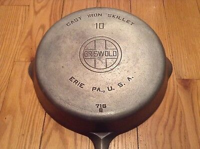 Vintage Griswold Large Logo Erie #10 (716B) Cast Iron Skillet With Nickel Finish