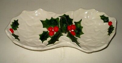 Vintage Lefton WHITE HOLLY BERRY Ceramic DIVIDED CANDY NUT DISH CHRISTMAS Japan