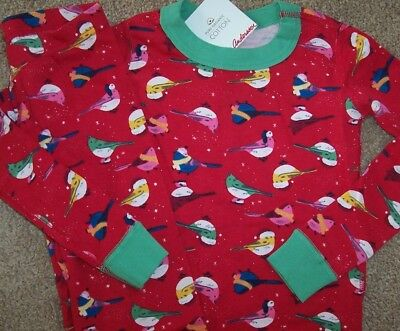 NWT Hanna Andersson Red COLORFUL BIRDS Organic Cotton Long Johns Pajamas 100/4