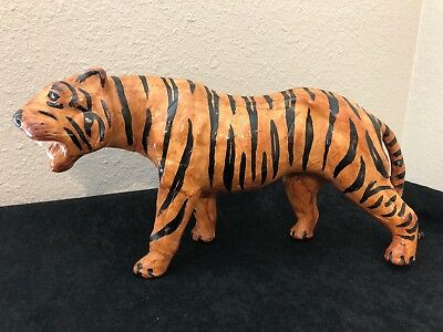 Vintage Paper Mache Leather Painted Striped Tiger Sculpture Folk Art