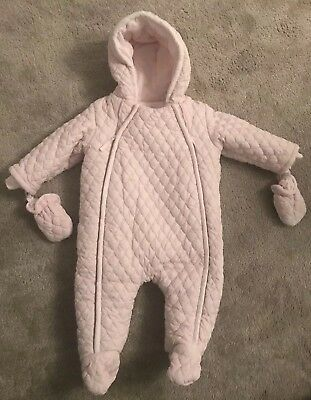 8c1f02b563ed BHS BABY GIRLS Sparkly Quilted Pale Pink Snowsuit 3-6 Months - £4.50 ...