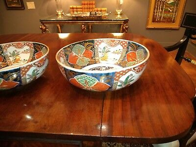 3 Antique Japanese Imari Matching Graduated Porcelain Bowls