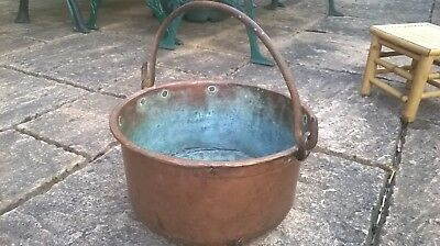 Large Antique Vintage Copper  Cauldron with Iron Hammered Handle 13""