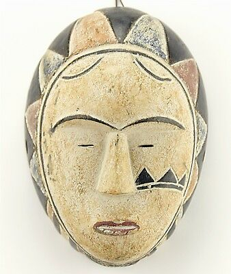 Vintage Oval Fang Mask Gabon African Tribal Art Hand Carved Painted