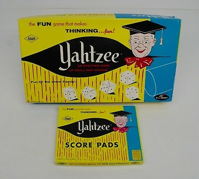 Vintage 1956 Yahtzee Game #950 & Extra Score Pads in Box by E.S. Lowe