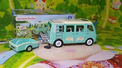 Sylvanian Families Campervan and Trailer  & Buttercup Cow Family Boxed