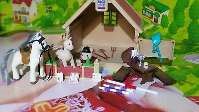 Sylvanian Families Stables and 2 ponies and Jumping & Equestrian Set