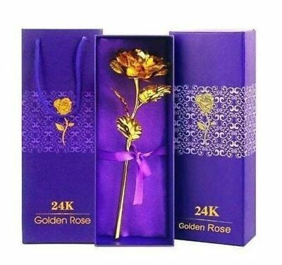 Rose Dipped in Gold with Gift Box, Stem Real Best Valentine's Day Gift...NEW