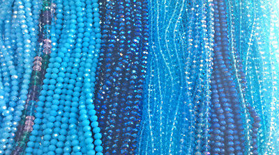 Blue Aqua Turquoise Capri Chinese Crystal Rondelle Rondell 6mm x 4mm 2 Strands