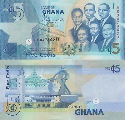 Ghana 5 Cedis (01.7.2015) - Big Six/Monuments/p38f UNC
