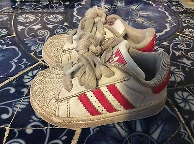 """Adidas """"Superstar Retro"""" Size 4 Baby Girl Pink & White Leather Sneakers Shoes"""