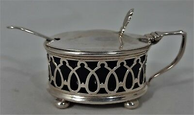 Birks Sterling Silver Mustard Pot & Spoon with Cobalt Liner