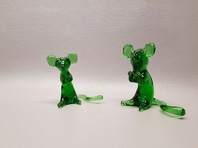 Mouse Rat Figurines Blown Glass Green Color Animals Vintage